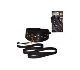 Кожаный ошейник с шлейкой Sitabella Gold Collection
