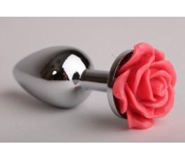 Металлическая анальная пробка с розой, 9.5 см