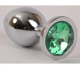 Анальная пробка серебряная с кристаллом, 8.2 см