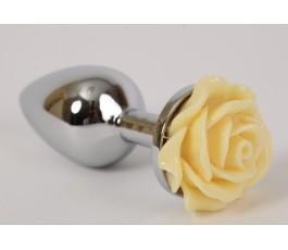 Анальная пробка металлическая с розой, 7.6 см