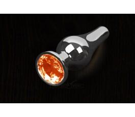 Анальная пробка маленькая с кристаллом, серебристая - Пикантные Штучки, 8,5 см