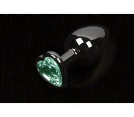 Анальная пробка большая с кристаллом в виде сердечка, графитовая - Пикантные Штучки, 8,5 см