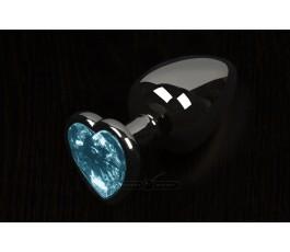 Анальная пробка маленькая с кристаллом в виде сердечка, графитовая - Пикантные Штучки, 6 см