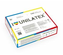 Коробка разноцветных презервативов с фруктовыми ароматами - Unilatex, 144 шт
