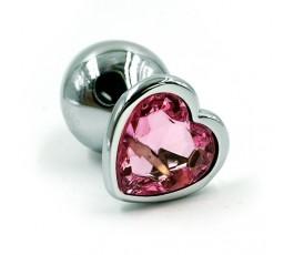 Анальная пробка с кристаллом в форме сердца - размер S - Kanikule, 6 см