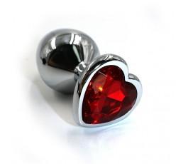Анальная пробка с кристаллом в виде сердечка - размер M - Kanikule, 7 см