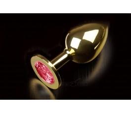 Большая золотая анальная пробка с закругленным кончиком и кристаллом - 9 см